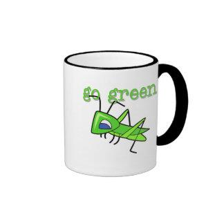 Grasshopper Go Green T-shirts and Gifts Ringer Mug