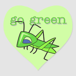 Grasshopper Go Green T-shirts and Gifts Heart Sticker