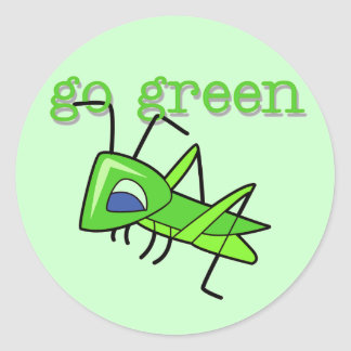Grasshopper Go Green T-shirts and Gifts Classic Round Sticker