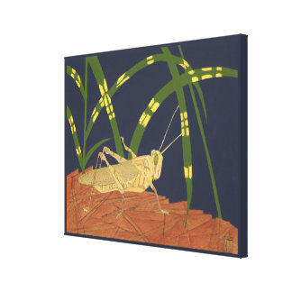 Grasshopper in Green Grass on Blue Background Canvas Print