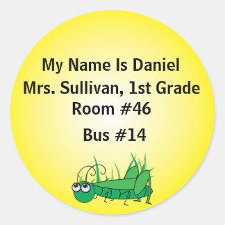 Grasshopper Nametag Classic Round Sticker