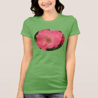 Grasshopper on Pink Rose T-Shirt