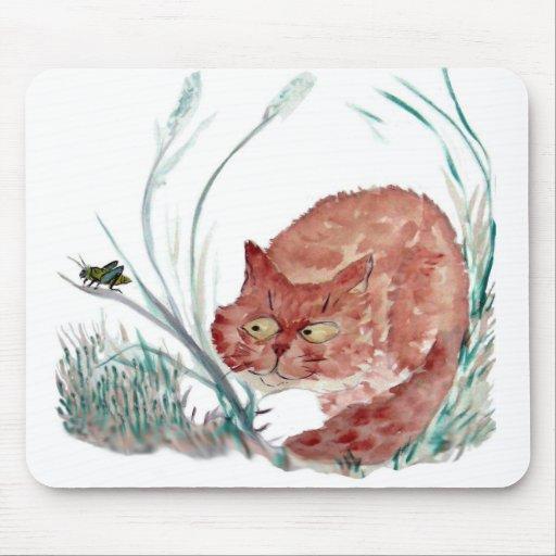 Grasshopper Teases the Kitten, Sumi-e Mouse Pad