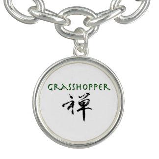 "Grasshopper with ""Zen"" symbol Charm Bracelets"