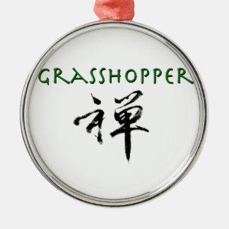 "Grasshopper with ""Zen"" symbol Metal Ornament"