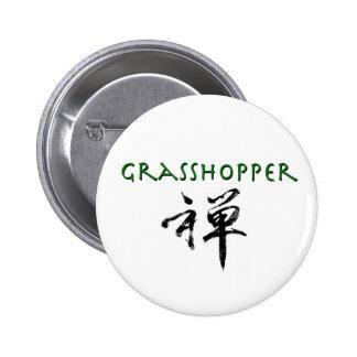 "Grasshopper with ""Zen"" symbol Pinback Button"