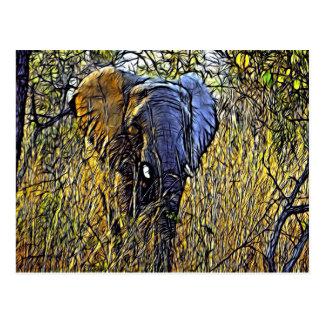 Grassland Wild Safari Animal Art African Elephant Postcard