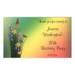 Grassy Bouquet And Butterflies Birthday Rectangular Sticker