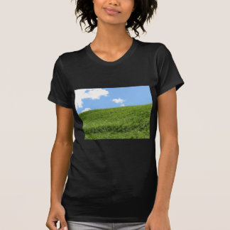 Grassy field at the rolling hill against the sky T-Shirt