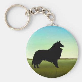 Grassy Field Collie Dog Basic Round Button Keychain