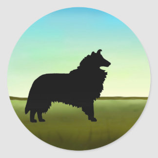 Grassy Field Collie Dog Classic Round Sticker