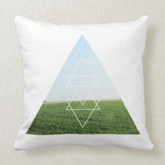Grassy Field Photography Modern Triangle Landscape Throw Pillow