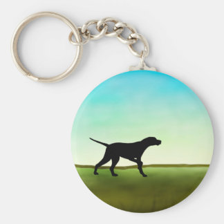 Grassy Field Pointer Dog Basic Round Button Keychain