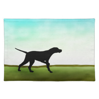 Grassy Field Pointer Dog Cloth Placemat