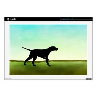 Grassy Field Pointer Dog Laptop Decal