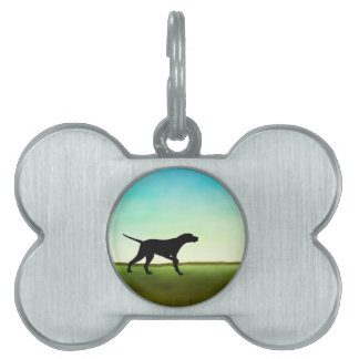 Grassy Field Pointer Dog Pet Name Tag