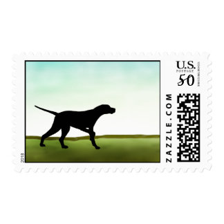 Grassy Field Pointer Dog Postage