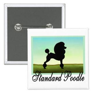 Grassy Field Standard Poodle Pinback Button