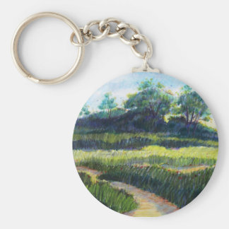 Grassy field with trees basic round button keychain