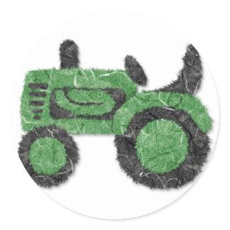 Grassy green tractor classic round sticker