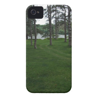Grassy ground with trees and water iPhone 4 cover