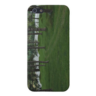 Grassy ground with trees and water iPhone 5 cover