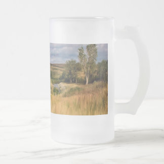 Grassy Hills Prairie Frosted Glass Beer Mug