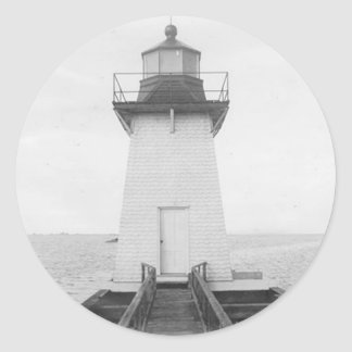 Grassy Island Range Lighthouse Classic Round Sticker