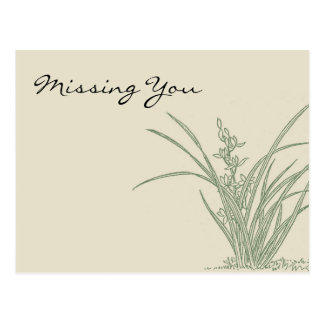 Grassy Landscape Sketch Missing You Postcard