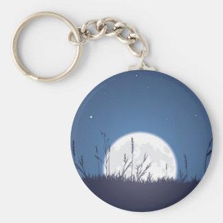 Grassy Moonrise Basic Round Button Keychain