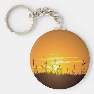 Grassy Sunrise Basic Round Button Keychain
