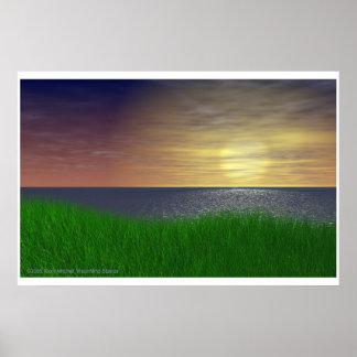 Grassy Sunset Poster