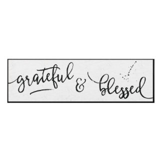 Grateful & Blessed distressed black & white Panel Wall Art