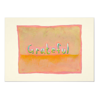 Grateful - colorful art of gratitude appreciation personalized invites