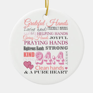 Grateful hands ceramic ornament