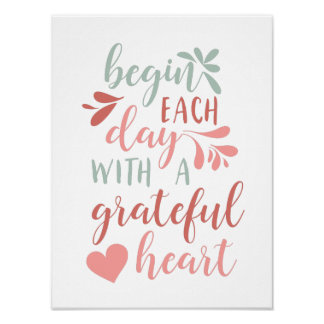 Grateful Heart | Hand Lettered Typography Quote Poster