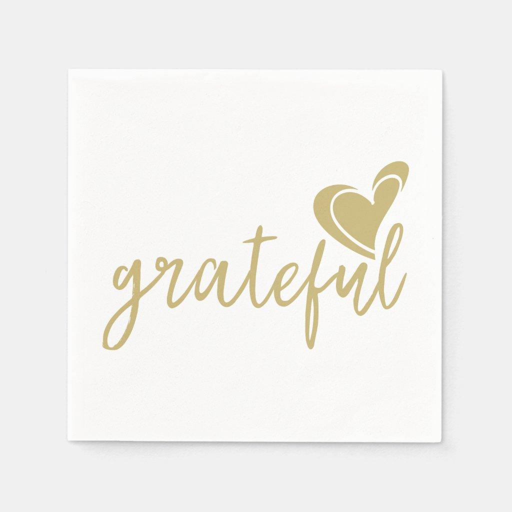 grateful heart paper napkin