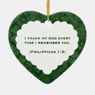 Grateful Heart Personalized Green Gift Ceramic Ornament