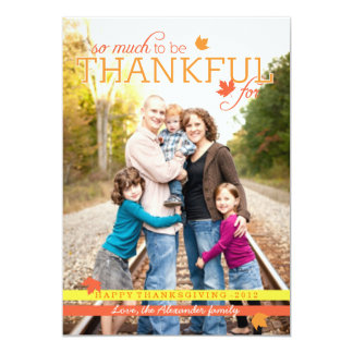 Grateful Leaves Thanksgiving Photo Card Invitations