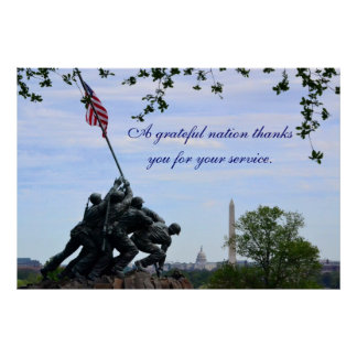 Grateful Nation Thanks You for Your Service Poster