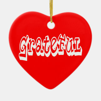 Grateful Double-Sided Heart Ceramic Christmas Ornament