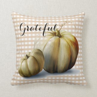 """Grateful"" Pumpkins and Plaid Autumn Throw Pillow"
