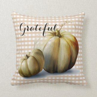 """Grateful"" Pumpkins and Plaid Autumn Throw Pillow"