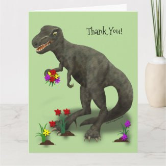 Grateful T-Rex Big Green Thank You Card