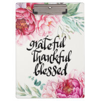 Grateful Thankful Blessed acrylic clipboard