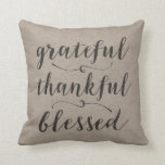 "Grateful Thankful Blessed Rustic Script - damask Throw Pillow<br><div class=""desc"">A beautiful home and family design with an inspiration saying.</div>"