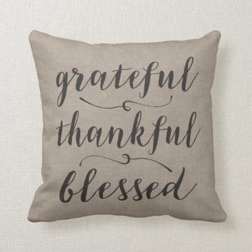 MarshEnterprises Grateful Thankful Blessed Rustic Script - damask Throw Pillow