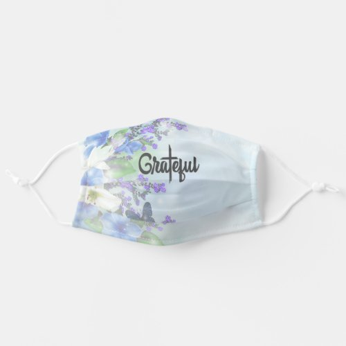 Grateful with Christian Cross Blue Lavender Floral Cloth Face Mask