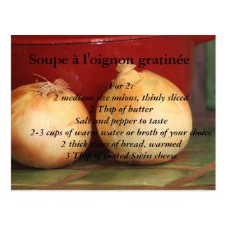 Gratén francés del au de la sopa de la cebolla postal