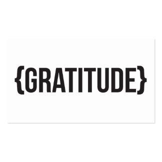 Gratitud - acorchetada - blanco y negro tarjetas de visita